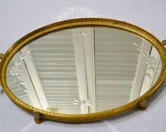 Vintage Apollo Vanity Mirror Tray Ornate Brass Metal Floral Etched Mirror Perfume Display  PanchosPorch