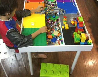Tall Building bricks table, building blocks table , kids large Lego® Table, activity table, train table, art table, Lego table with storage