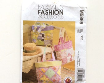 McCall's M5866, Tote Bag Pattern, Purse Pattern, McCall's Fashion Accessories, Uncut Pattern