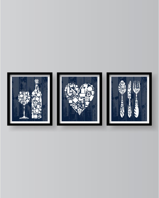 Blue Kitchen Wall art set of 3 prints Kitchen Decor Blue