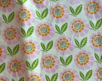 Heather Bailey Stella Lilac Tangerine Green Flowers Up Parasol Fat Quarter Quilt Fabric Sewing Fabric Retro Fabric