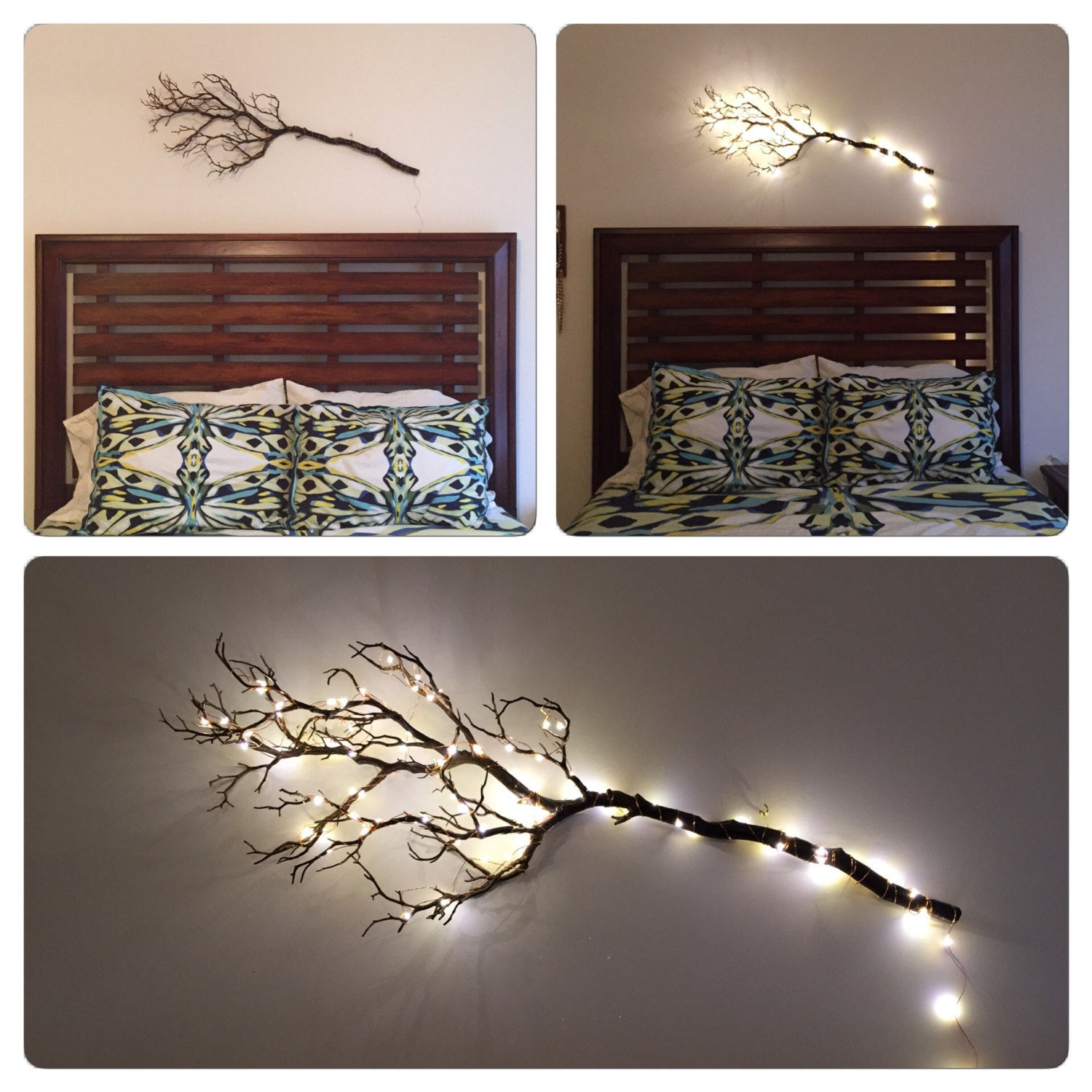 Lighted Twigs Home Decorating: Bedroom Decor Artificial Manzanita Tree Branches Wall