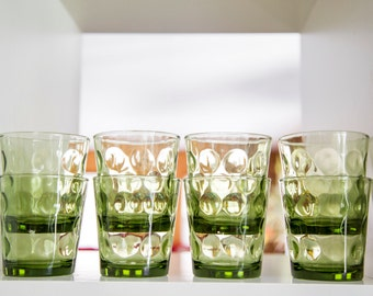 set of eight small retro 60s 70s avocado green thumbprint cocktail glasses highball - drink