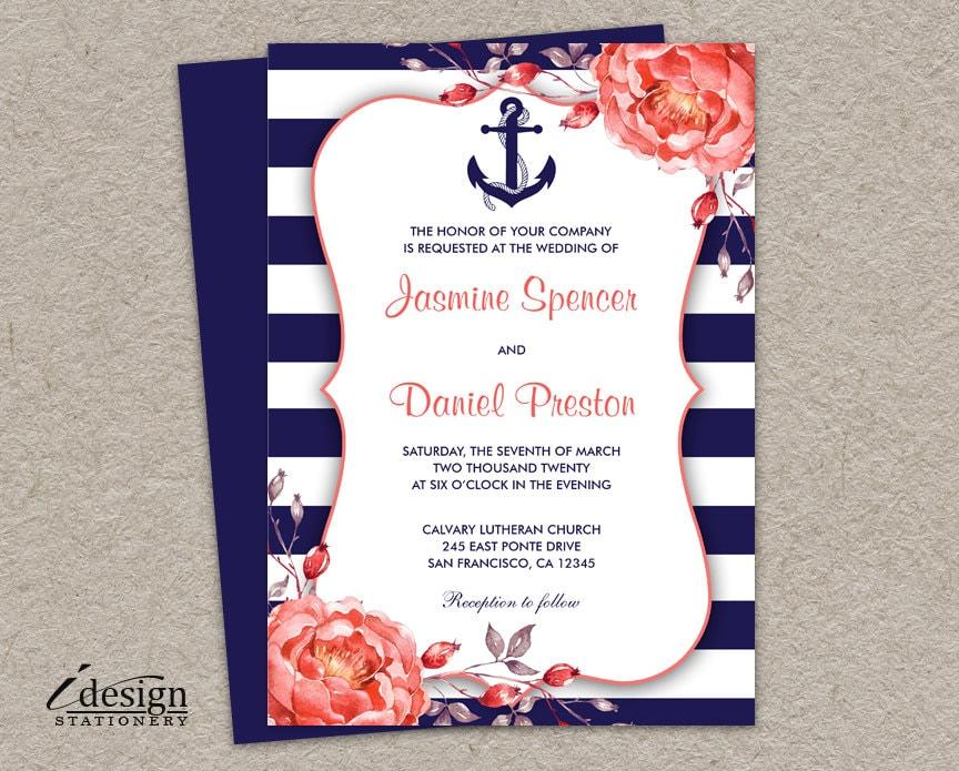 Coral and grey printable wedding invitations