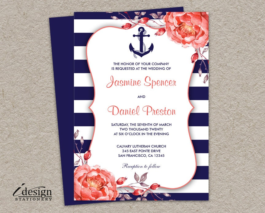 Nautical wedding invitation printable navy blue and coral zoom stopboris Image collections