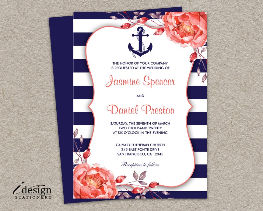 New Nautical Wedding Invitation Printable Navy Blue And Coral TC37