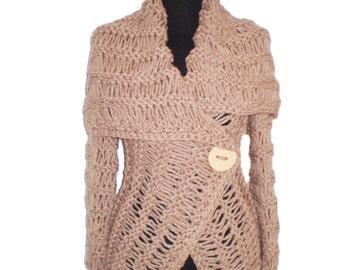 Wrap sweater,  brown sweater,   handmade sweaters, cardigan,Women cardigan knit sweater brown