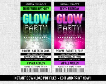 Glow party invite etsy glow party invitations ticket style neon birthday party instant download editable and stopboris Gallery