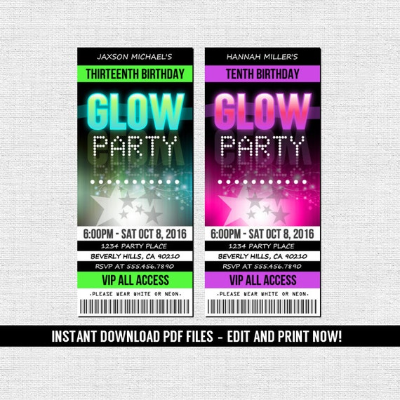 Glow Party Invitations Ticket Style Neon Birthday Party
