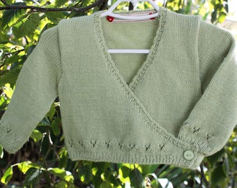 Handknitted Gorgeous Long Sleeved Cross Over Front Cardigan