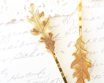 Golden Ox Leaf Bobby Pin Set - Oak Leaf Hair Pins - Woodland - Whimsical - Nature - Bridal - Leaf Hair Accessories