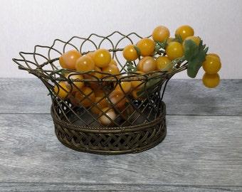 Vintage Brass Wire Woven Basket