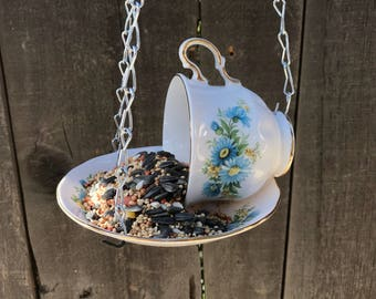 Teacup Bird Feeder with Single Bag Bird's Seed, Queen Anne Bone China Teacup and Saucer Cosmos Flower Design, Item #579061317