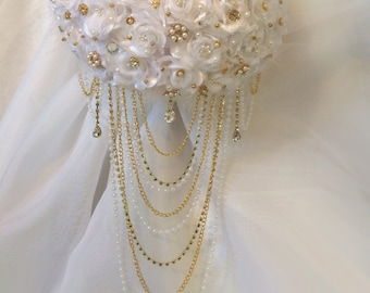 Gold Brooch Bouquet, Cascading Brooch Bouquet, Available in any color flower, Silver or Gold Brooches, Starting at 155.00.