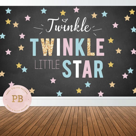 Digital Twinkle Twinkle Little Star Backdrop Gender Reveal