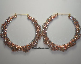 Swarovski Crystal Bamboo Hoop Earrings -  (Iridescent) -  Half Off Edition