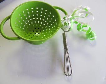 Miniature Jadeite Green Colander Miniature whisk Egg Beater Childrens Utensils Green Strainer Kitchen Utensils Jadeite Kitchen Decor