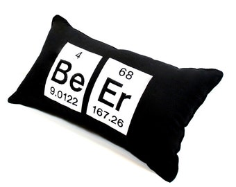 Pillow-Periodic Table Element  Beer Embroidered- black cotton and white felt