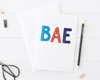Bae Valentine / Anniversary / Love Card - A5 - valentine card for boyfriend - valentine card - valentine's day card - wink design