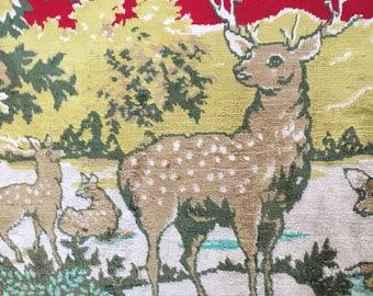 Vintage Deer/Stag Rug. Small Floor Mat. Wall Hanging.
