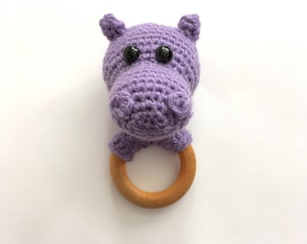 Hippo baby teether, crochet, wooden ring