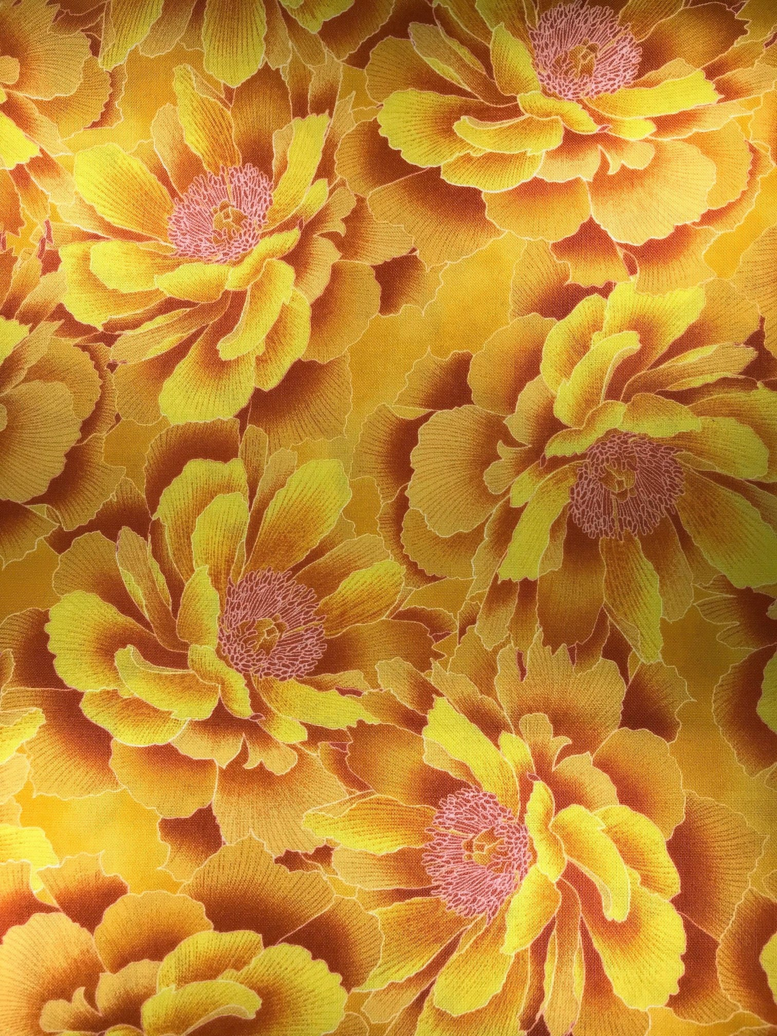 Yellow Flowers Fabric Floral Reign Hoffman California