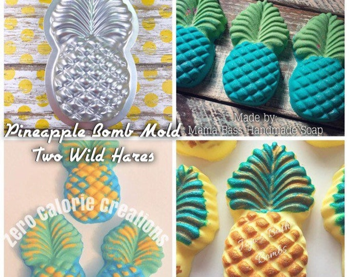 "PINEAPPLE Bath Bomb Mold, Metal, 5""x2.75"", Two Wild Hares"
