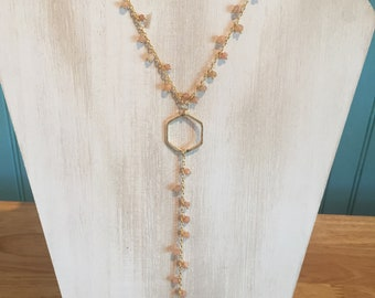 Sunstone rosary necklace/long layering necklace/lariat necklace/y necklace.RedSealGoods