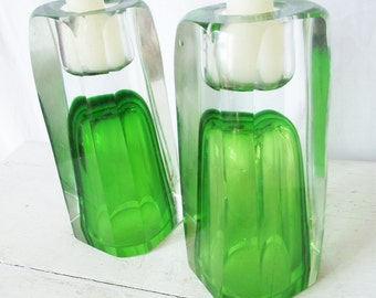 Vintage Art Glass Candle Holders - Gorgeous Green and Clear - Heavy Thick Encased Glass