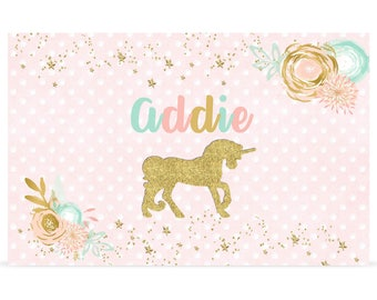 Unicorn Placemat - Personalized Placemat - Unicorn Laminated Placemat - Personalized Kids Placemat - Custom Placemat Gift - Girls Placemat
