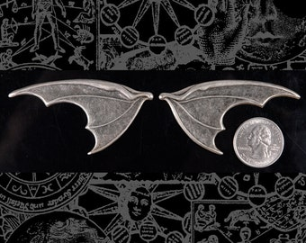 Huge Silver Plated Brass Bat Wings - One Set of Wings * S-P55