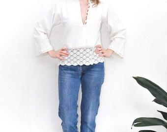 vintage peasant top | 70's boho shirt | button-down | ivory low-cut top | bohemian style shirt | floral lace blouse | size medium