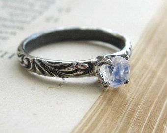 Rainbow Moonstone Ring  Promise Ring Gemstone Stacking Ring Alternative Engagement Ring