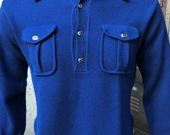 Trumpeter 1960s VTG Made in ITALY Rat Pack Knit Polo/Casual Shirt with Loop Collar