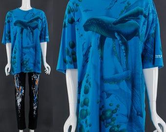 VAPORWAVE T-Shirt Vintage 90's Ocean Life T-Shirt Blue vintage t-shirt Seapunk Tee Whales Dolphins Marine Biology Tshirt Unisex