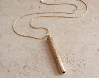 Retractable Toothpick Necklace 9K Yellow Gold Birmingham 1982 Hallmarked Vintage V1015