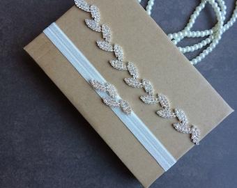 Leaf Rhinestone Garter Set, Crystal garter set, wedding garter set, bridal garter belt, wedding garter belt, something ivory garter set