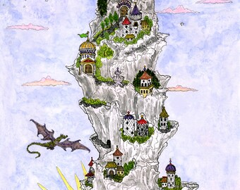 Nine Fairy Tale Castles and Dragon on a Mountain Overlooking the Sea Print Fantasy Sun Moon Pen and Ink Watercolor Illustration Wall Art