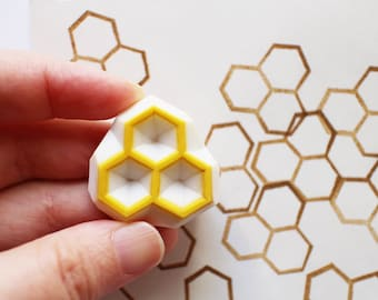 honeycomb stamp | beehive rubber stamp | hexagon | diy birthday card making | gift wrapping | gift for her | hand carved by talktothesun