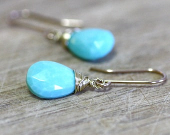 Natural Arizona Sleeping Beauty Turquoise Earrings in Solid 14K Yellow Gold , December Birthstone , Wedding , Bridal , 11th Anniversary