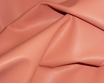 "PRECUT Leather 20""x20"" PLONGE Coral / Peach Full grain thin Cowhide #528 1.75 oz / 0.7 mm PeggySueAlso™ E2843-03"