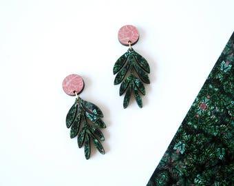 Botanical Earrings - Drop Leaf Earrings - Dangle Earrings - Statement Earrings - Plant Earrings - Tropical Earrings - Green Leaf Earrings