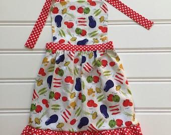 Vegetable Apron for Kids, Toddler Apron, Child Apron, Kid Cooking Apron, Little Girl Apron, Kid Apron, Kitchen Apron, Cooking School