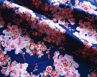 Japanese indigo blue floral, floral, silk georgette type fabric