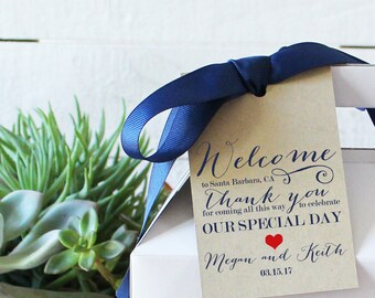 Set of 12 - Wedding Welcome Tags | Our of Town Guest Tags - ANY COLOR - 3x5 inch Hang Tags