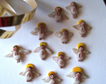 Micro-Miniature Angels - 12 Very Tiny Hand Sculpted Dollhouse Scale Tree Ornaments or Awesome Tiny Gifts