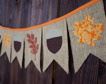 Autumn Thanksgiving Fall Leaves & Acorns Burlap Pennant Banner for Mantle, Party Decorations, or Photo Prop