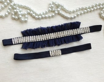 wedding garter set, chiffon bridal garter set, rhinestone