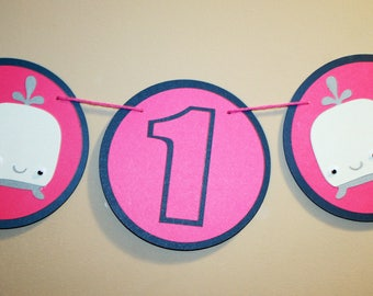 Pink whale first birthday banner,  whale 1 high chair banner, high chair birthday banner.  Whale birthday theme