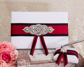 Wedding Guest Book Sign In Book Black and Red Wedding